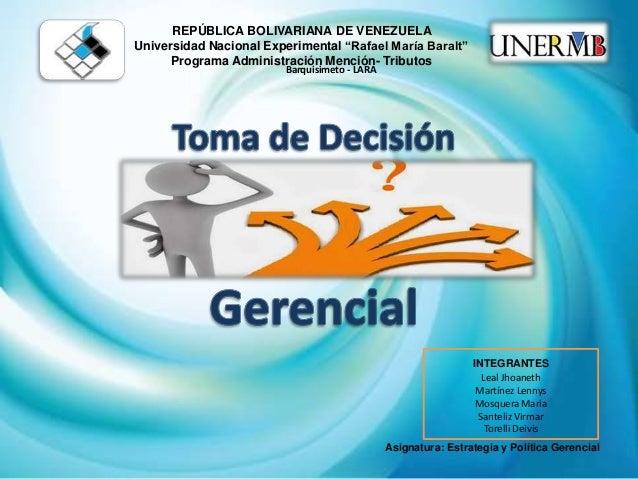 """REPÚBLICA BOLIVARIANA DE VENEZUELA  Universidad Nacional Experimental """"Rafael María Baralt""""  Programa Administración Menci..."""