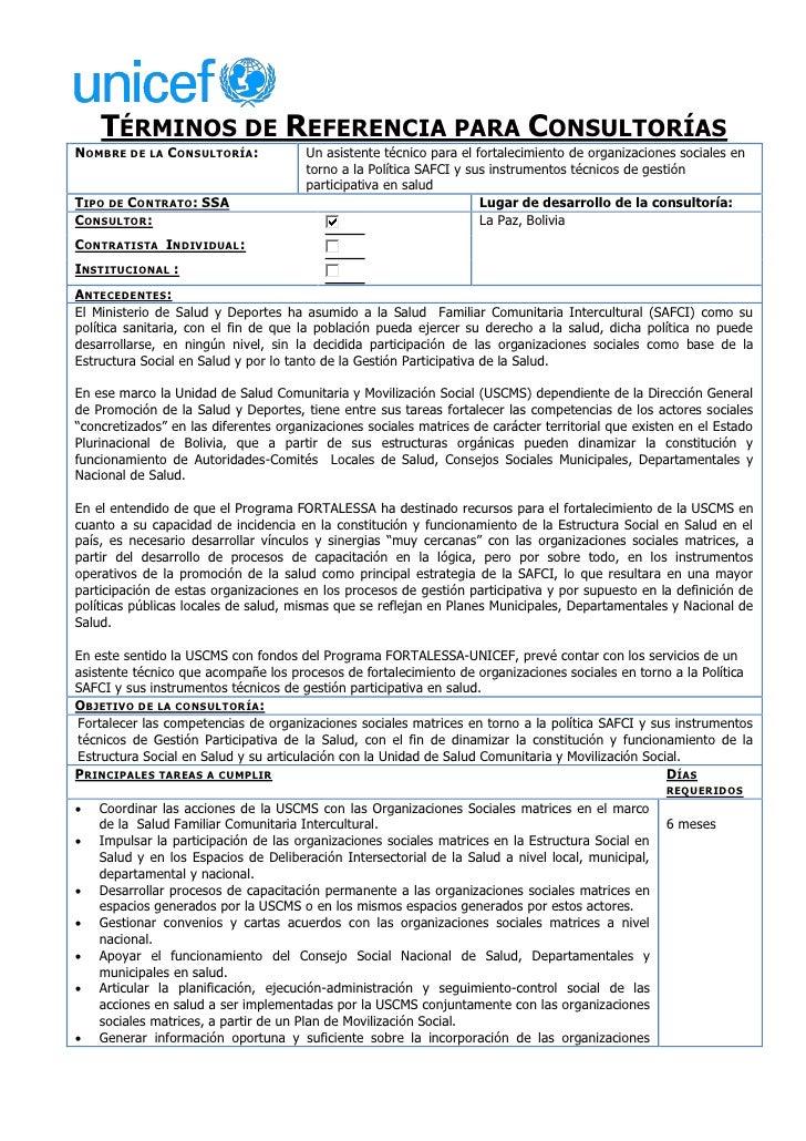 TÉRMINOS DE REFERENCIA PARA CONSULTORÍASNOMBRE DE LA CONSULTORÍA :             Un asistente técnico para el fortalecimient...