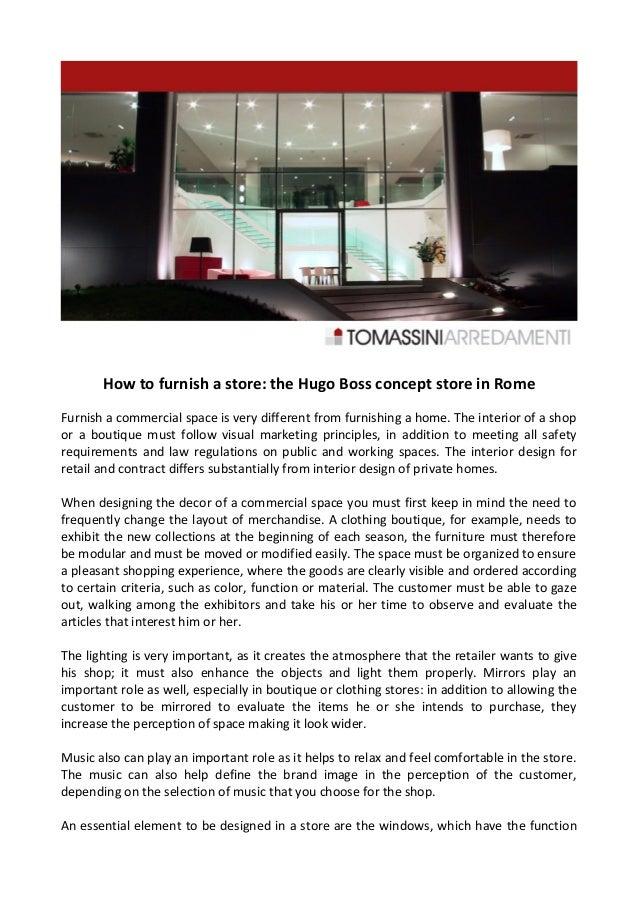 Tomassini arredamenti decorates the concept store of hugo for Tomassi arredamenti