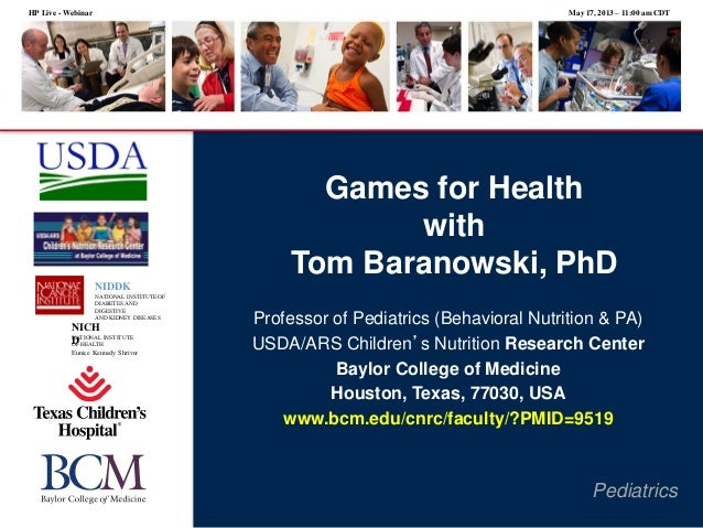 Games for Health with Tom Baranowski, Ph.D.