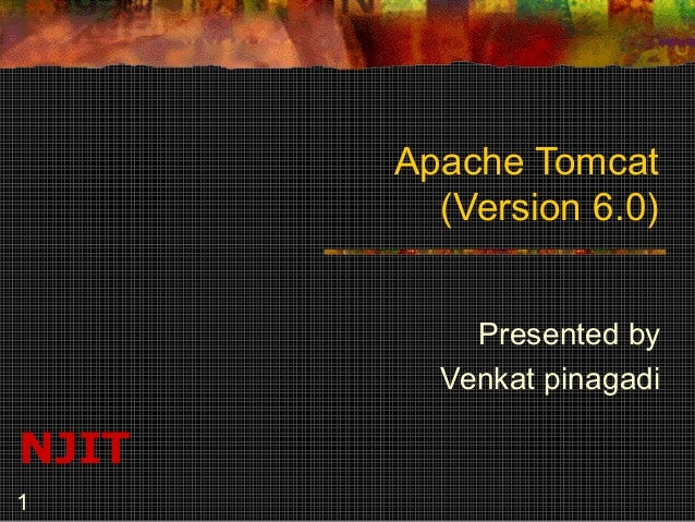 Apache Tomcat (Version 6.0) Presented by Venkat pinagadi  NJIT 1