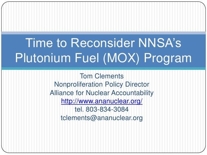 Tom Clements MOX Plutonium briefing 6.29.2012