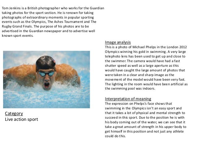 Image analysisThis is a photo of Michael Phelps in the London 2012Olympics winning his gold in swimming. A very largetelep...