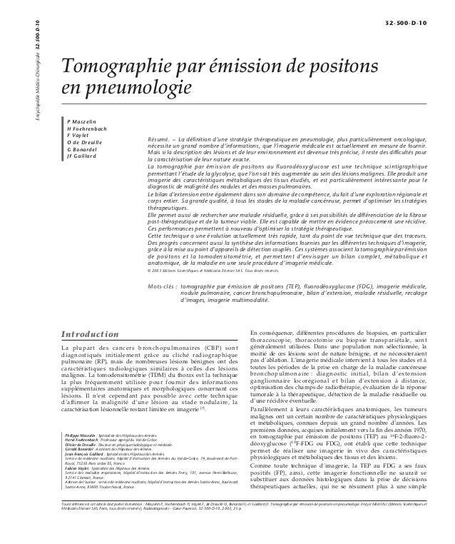Tomographie par émission de positons  en pneumologie  P Maszelin  H Foehrenbach  F Vaylet  O de Dreuille  G Bonardel  JF G...