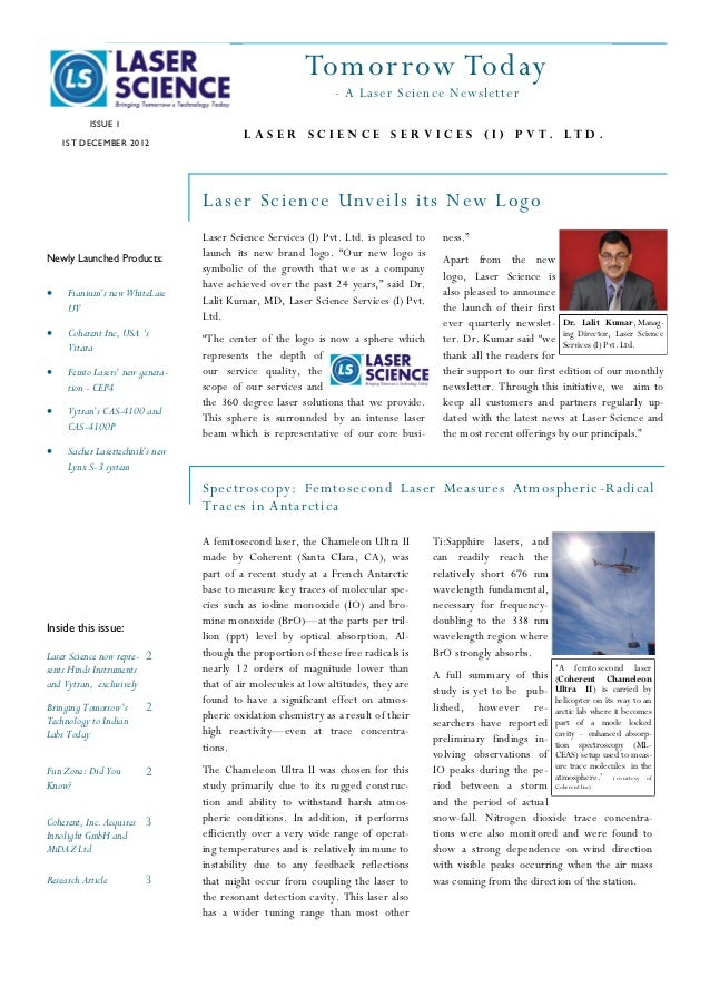 Tomor row Today                                                               - A Laser Science Newsletter           ISSUE...
