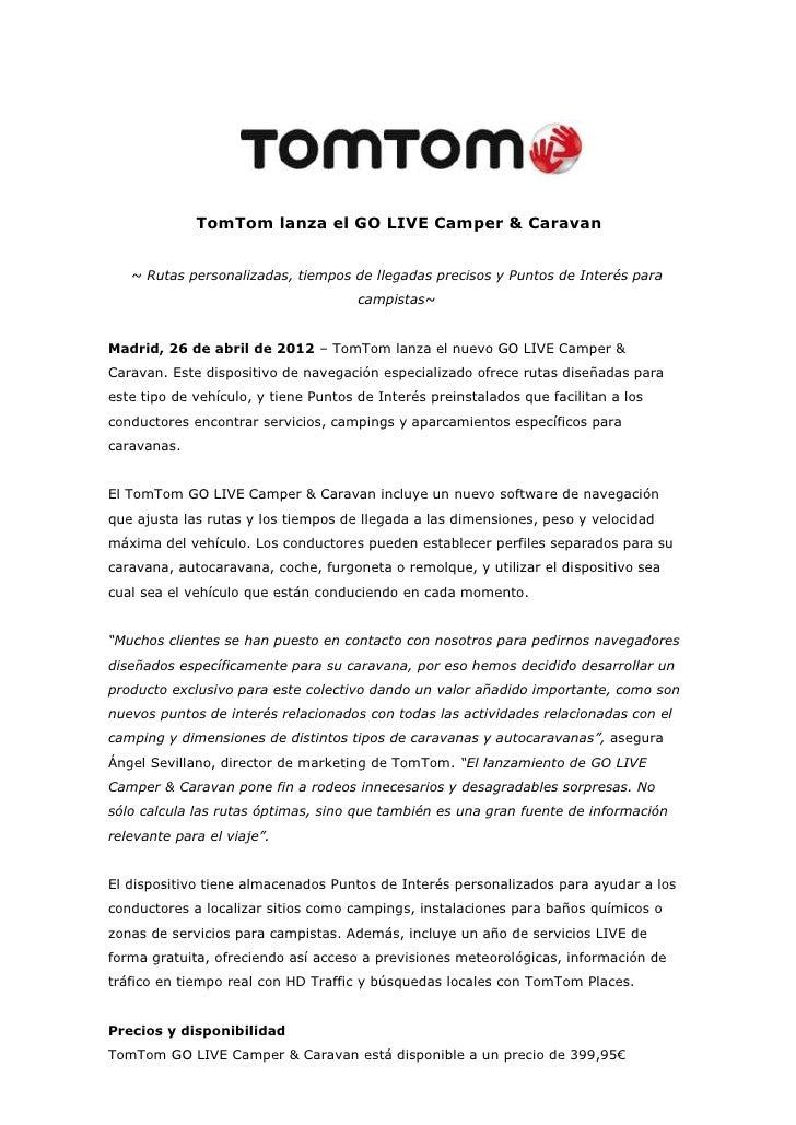 TomTom lanza el GO LIVE Camper & Caravan   ~ Rutas personalizadas, tiempos de llegadas precisos y Puntos de Interés para  ...