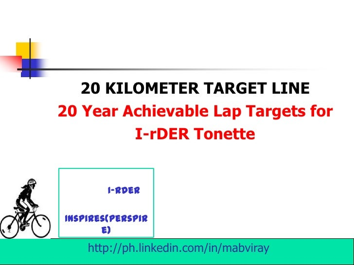20 KILOMETER TARGET LINE20 Year Achievable Lap Targets for         I-rDER Tonette        I-RderInspires(perspir       e)  ...