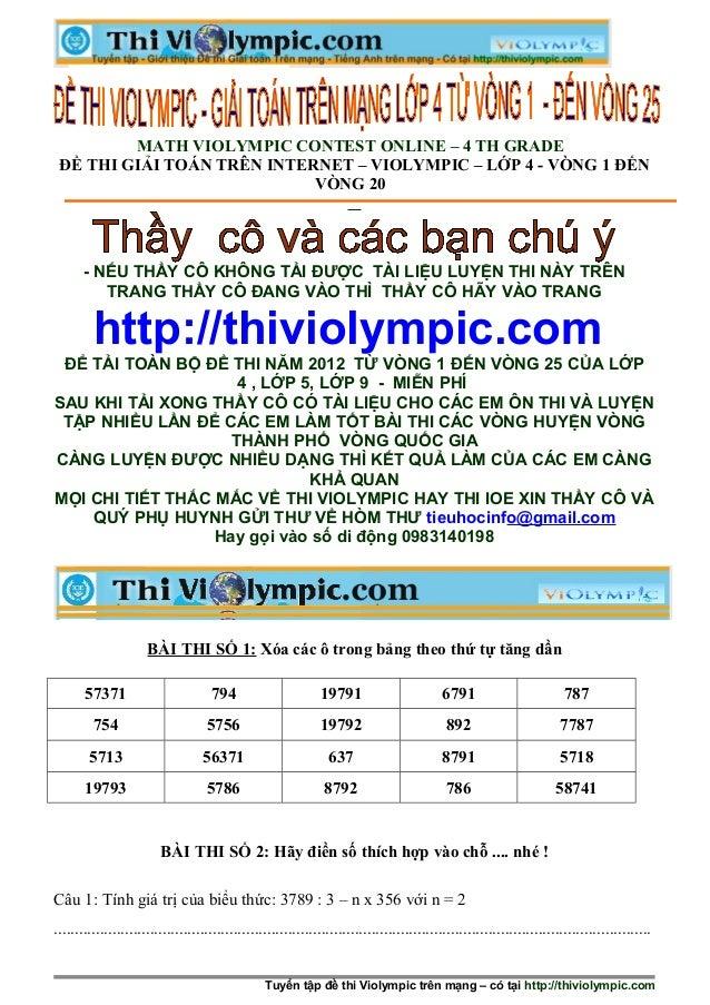 Tổng hợp các đề thi Violympic  - Giải toán trên mạng lớp 4 -từ vòng 1 đến  25