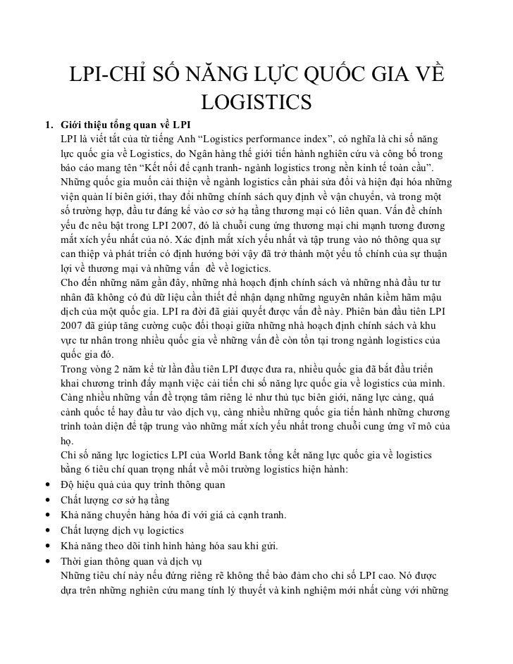 LPI-CHỈ SỐ NĂNG LỰC QUỐC GIA VỀ                 LOGISTICS1. Giới thiệu tổng quan về LPI   LPI là viết tắt của từ tiếng Anh...