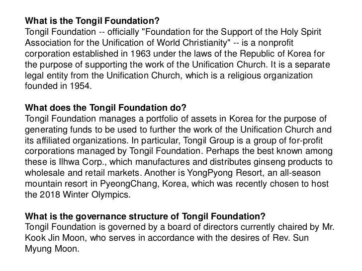 Tongil Foundation (Unofficial) FAQ