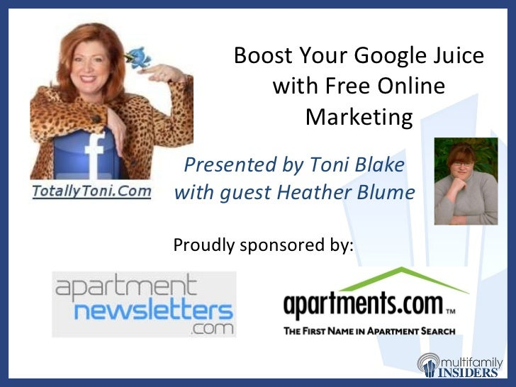 Toni Blake Webinar: Boost Your Google Juice with Free Online Marketing