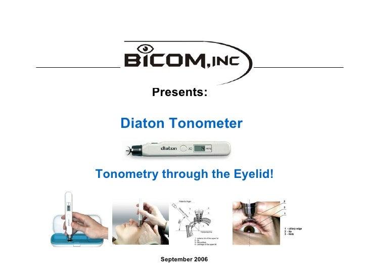 Presents:   Diaton Tonometer mruszczy: NEED LOGOS!! Tonometry through the Eyelid! September 2006