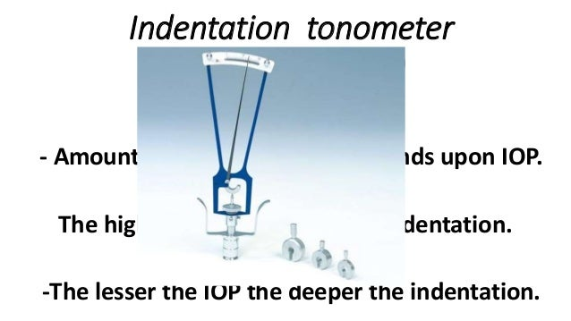 principles of indenting The principle of indentation tonometry is that a force or a weight will indent or sink into a soft eye further than into a hard eye schiotz tonometer the schiotz tonometer consists of a curved footplate which is placed on the cornea of a supine subject.