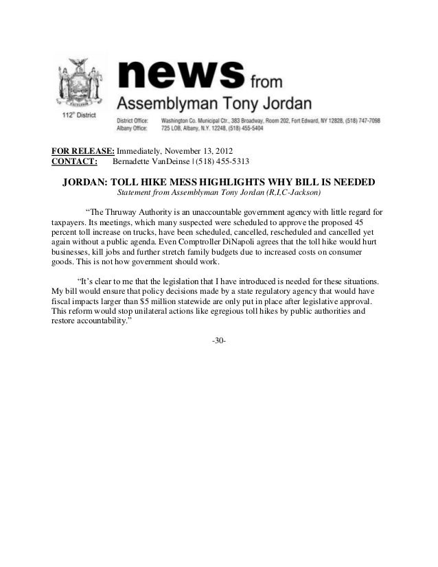 FOR RELEASE: Immediately, November 13, 2012CONTACT:   Bernadette VanDeinse | (518) 455-5313   JORDAN: TOLL HIKE MESS HIGHL...
