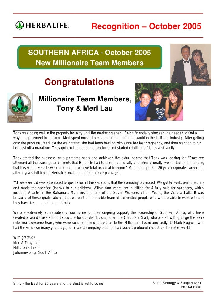 Recognition – October 2005            SOUTHERN AFRICA - October 2005           New Millionaire Team Members               ...