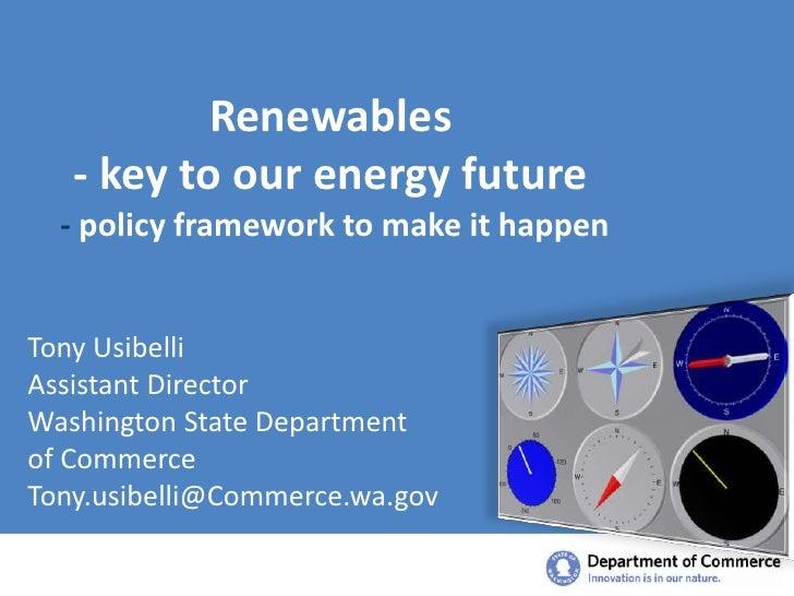 G.E.T. Smart - Smart Renewables: Dept. of Commerce Policy Presentation