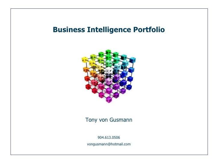 Tony von Gusmann 904.613.0506 [email_address] Business Intelligence Portfolio
