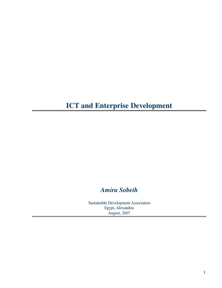 ICT and Enterprise Development                 Amira Sobeih       Sustainable Development Association                Egypt...