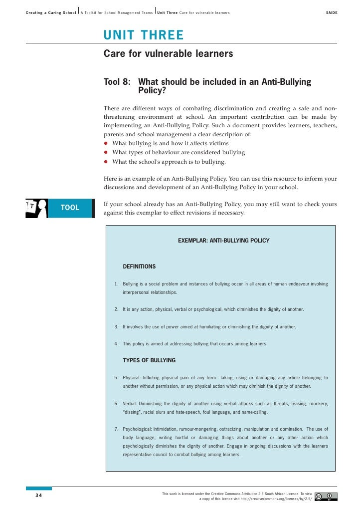 Toolkit: Unit 3 - Care for vulnerable learners