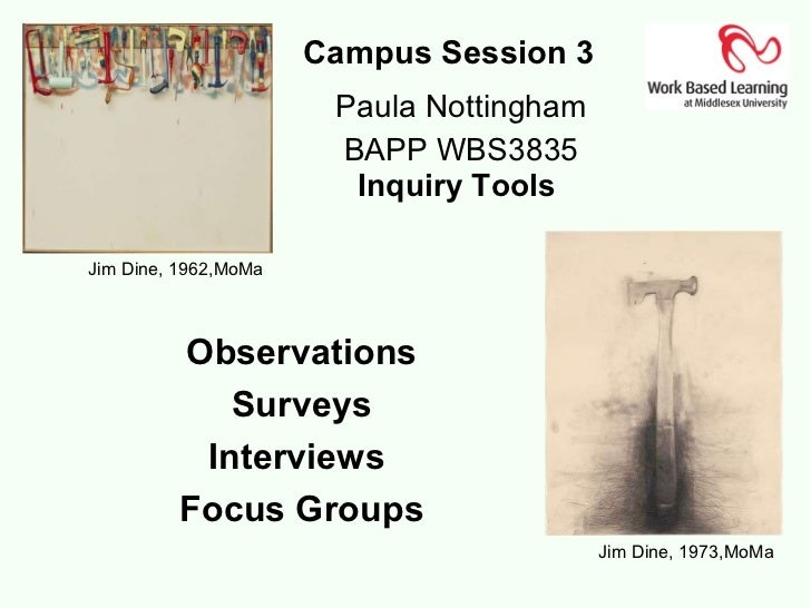Campus Session 3  Paula Nottingham BAPP WBS3835 Inquiry Tools  Jim Dine, 1973,MoMa Observations Surveys Interviews  Focus ...