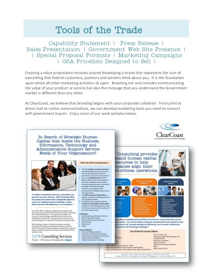 Tools of the Trade        Capability Statement | Press Release |Sales Presentation | Government Web Site Presence | | Spec...