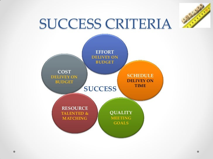 project success success factor and success criteria essay Success factor #4: invest early in marketing to clarify and articulate your value proposition, key messages, and defendable points of differentiation.