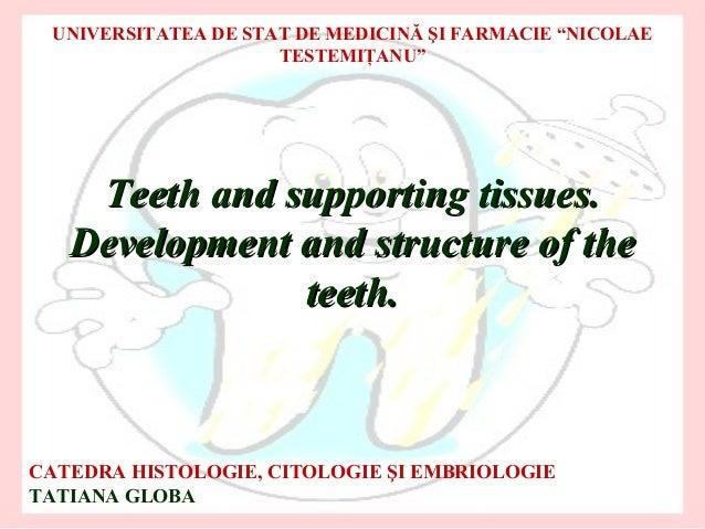 """UNIVERSITATEA DE STAT DE MEDICINĂ ŞI FARMACIE """"NICOLAE                     TESTEMIŢANU""""    Teeth and supporting tissues.  ..."""