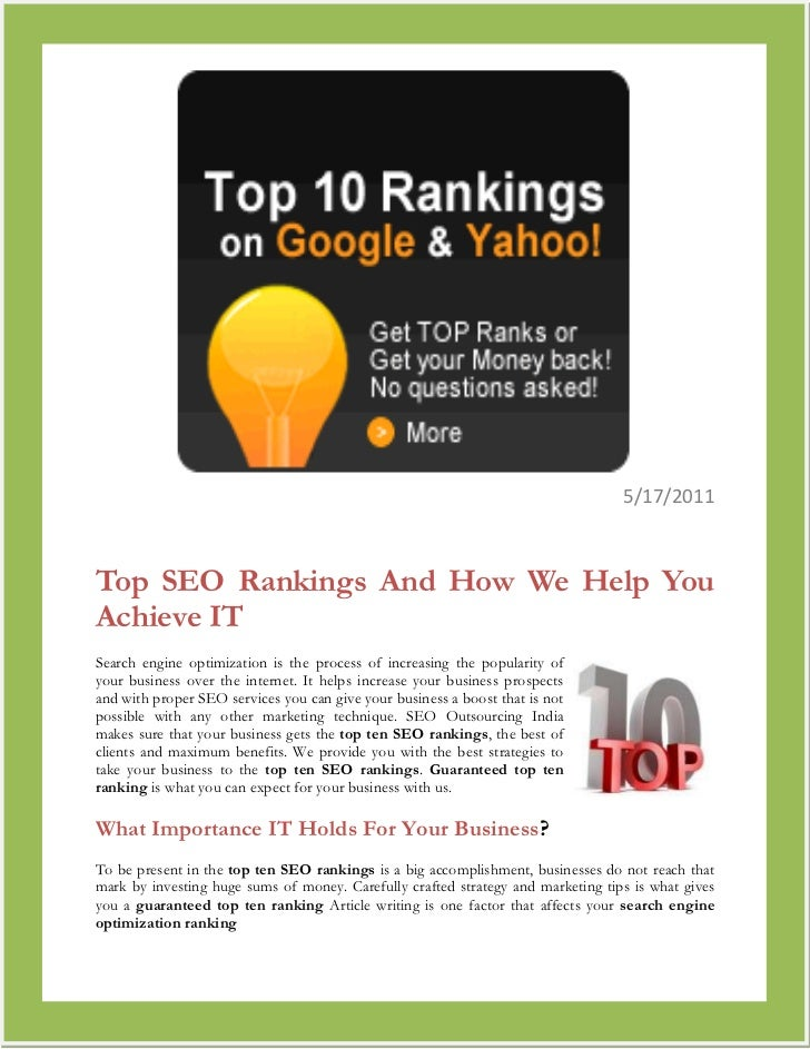 790575-2381255/17/2011<br />Top SEO Rankings And How We Help You Achieve IT<br />right0Search engine optimization is the p...