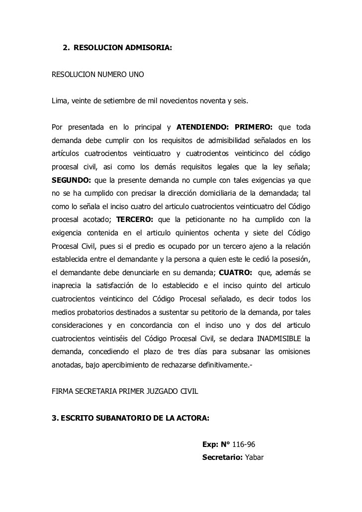 2. RESOLUCION ADMISORIA:RESOLUCION NUMERO UNOLima, veinte de setiembre de mil novecientos noventa y seis.Por presentada en...