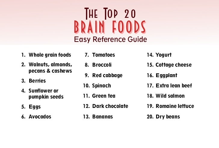 The Top 20                       B RA I N F O O DS                       Easy Reference Guide1. Whole grain foods      7. ...
