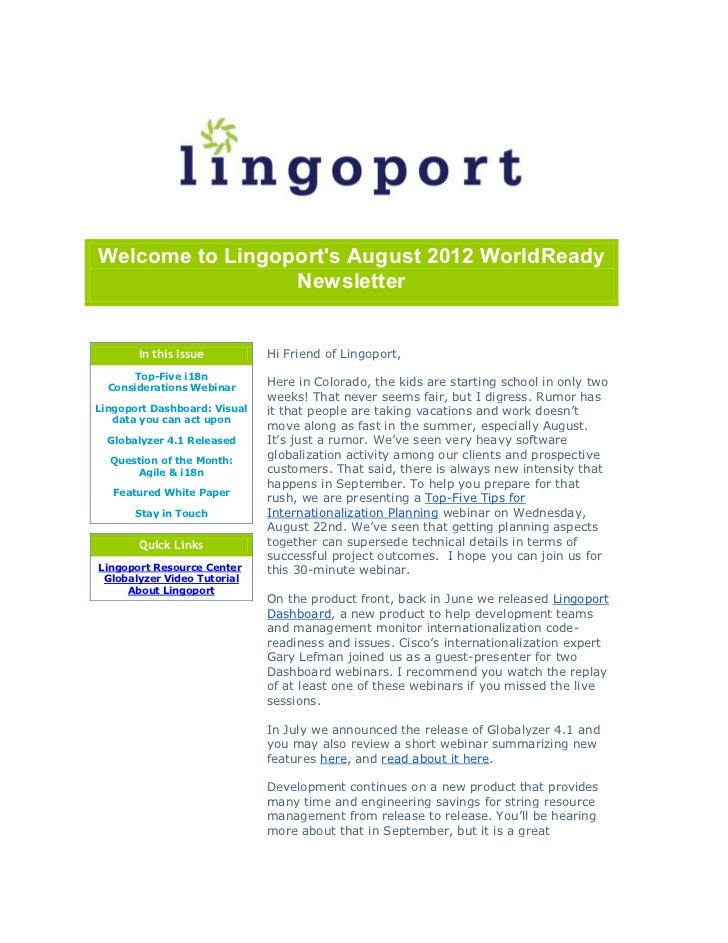 Welcome to Lingoports August 2012 WorldReady                 Newsletter       In this Issue          Hi Friend of Lingopor...