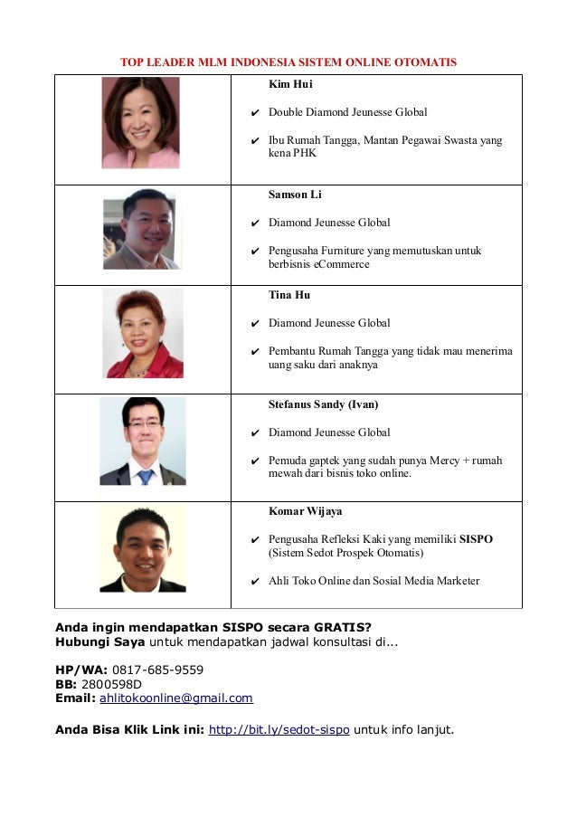 TOP LEADER MLM INDONESIA SISTEM ONLINE OTOMATIS Kim Hui ✔ Double Diamond Jeunesse Global ✔ Ibu Rumah Tangga, Mantan Pegawa...