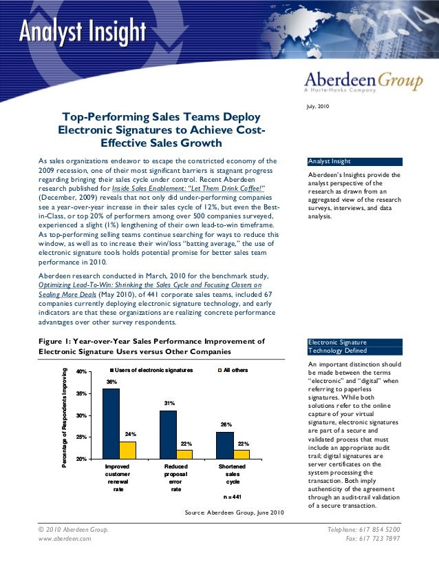© 2010 Aberdeen Group. Telephone: 617 854 5200July, 2010Top-Performing Sales Teams DeployElectronic Signatures to Achieve ...