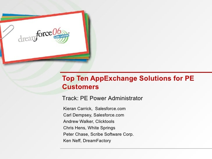 Top Ten AppExchange Solutions for PE Customers Kieran Carrick,  Salesforce.com Carl Dempsey, Salesforce.com Andrew Walker,...