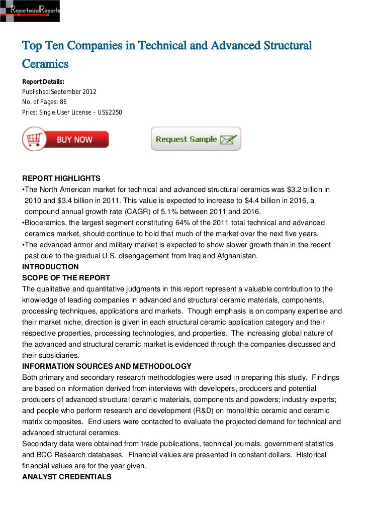 Top Ten Companies in Technical and Advanced StructuralCeramicsReport Details:Published:September 2012No. of Pages: 86Price...