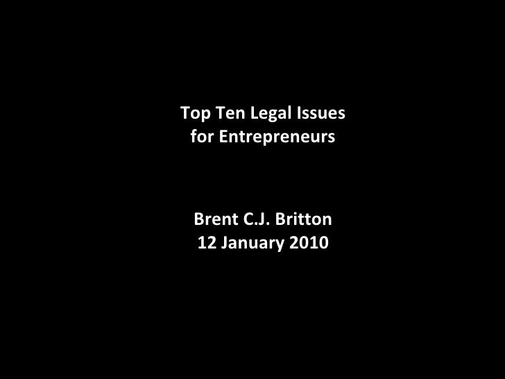 Top Ten Legal Issues for Startups