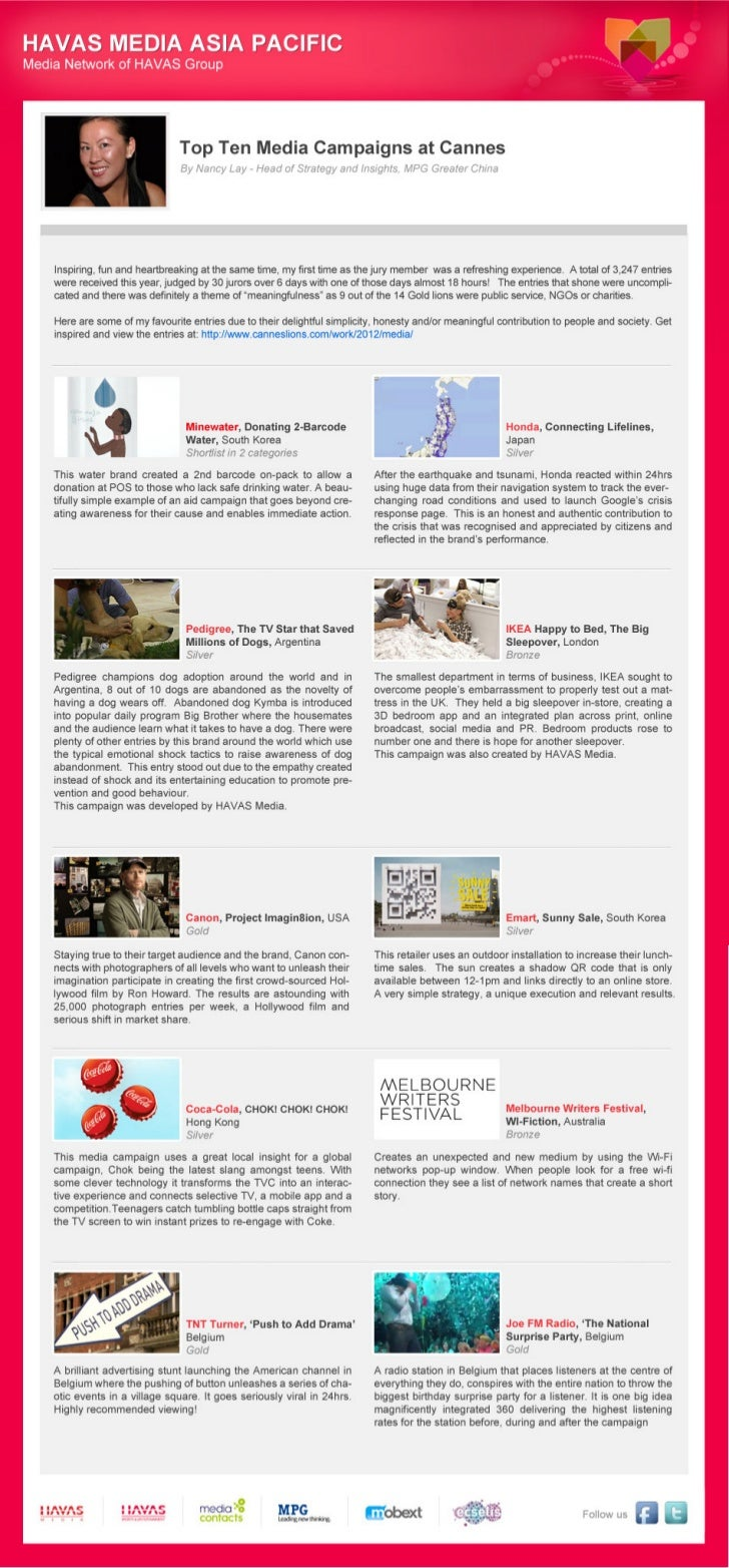[POV] - Top 10 Media Campaigns at Cannes Lions 2012, by Nancy Lay
