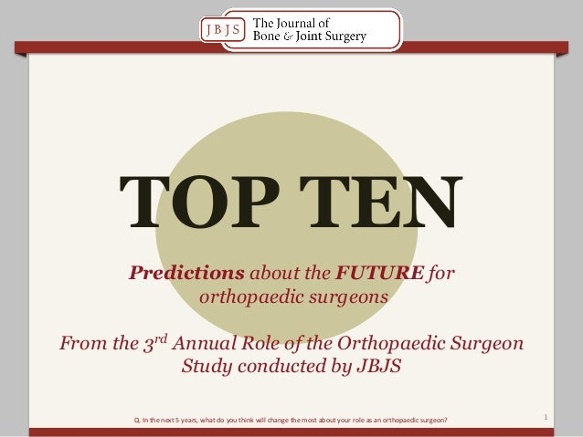 Predictions about the FUTURE fororthopaedic surgeonsFrom the 3rd Annual Role of the Orthopaedic SurgeonStudy conducted by ...