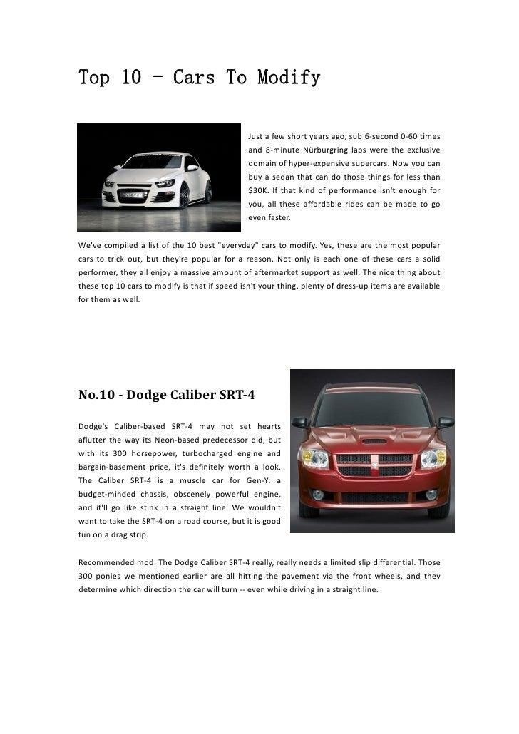easiest car to modify