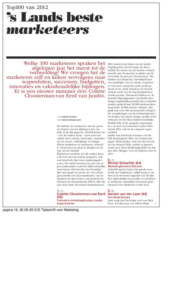 Top100 van 2012  's Lands beste  marketeers         Welke 100 marketeers spraken het                                      ...