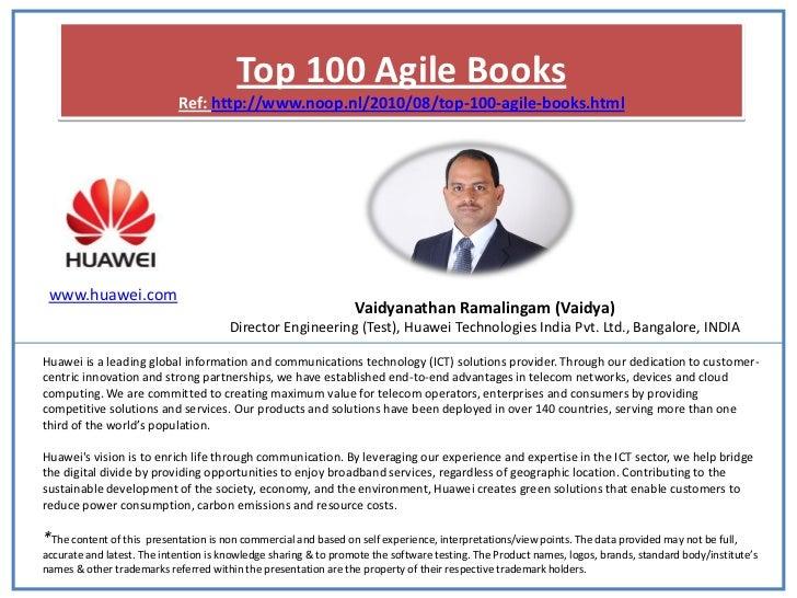 Top 100 Agile Books                            Ref: http://www.noop.nl/2010/08/top-100-agile-books.html www.huawei.com    ...