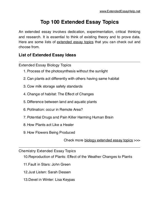 100 essay topics