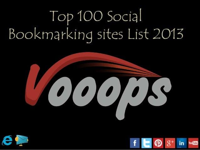 Top 100 social bookmarking sites list 2013
