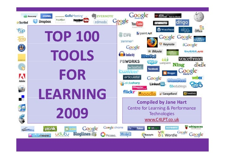 TOP 100    TOOLS     FOR     FOR LEARNING        Compiled by Jane Hart             Centre for Learning & Performance     2...