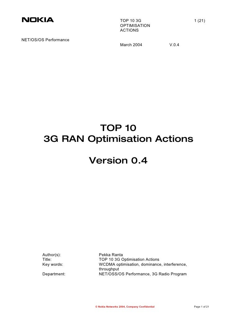 Top 10 3 G Radio Optimisation Actions