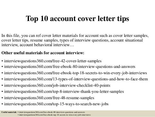 Top 10 Account Cover Letter Tips