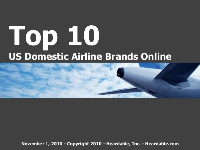 Top 10 US Domestic Airline Brands Online