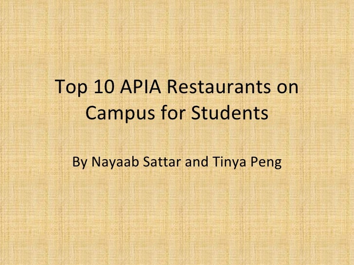 Top 10 Apia Restaurants On Campus For Students