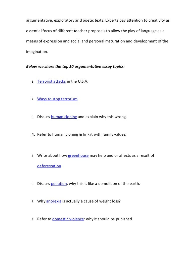 Top 10 argumentative essay topics