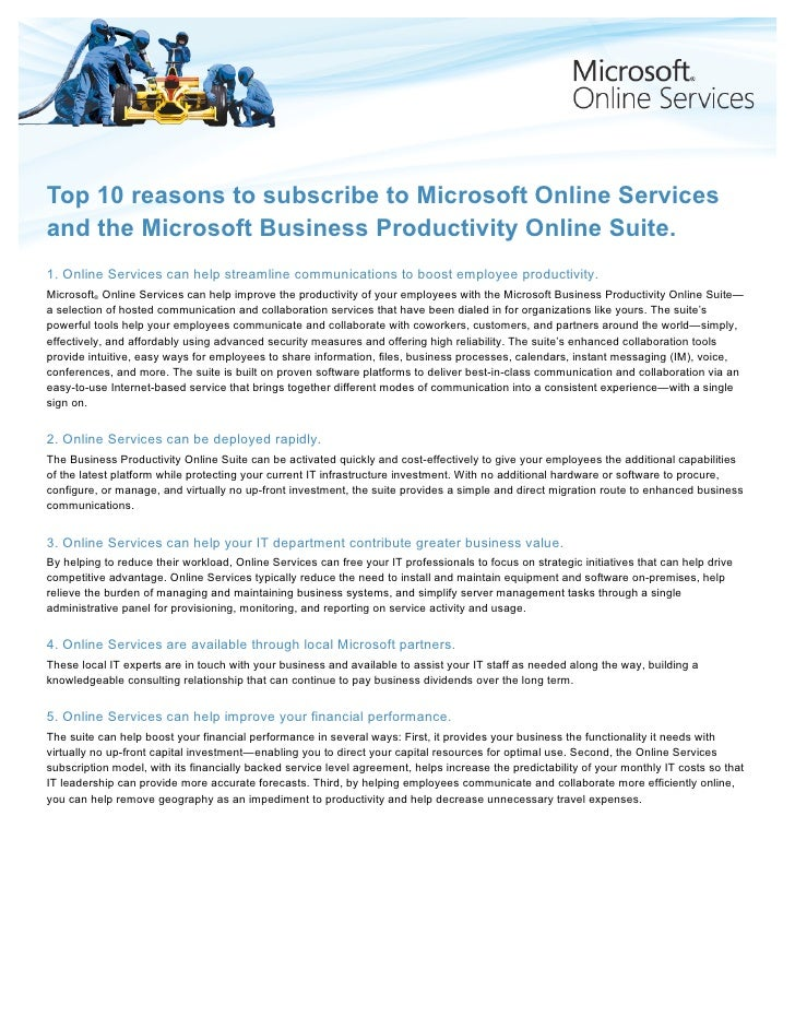White Paper: Top 10 reasons to subscribe to Microsoft Online Services and the Microsoft Business Productivity Online Suite.